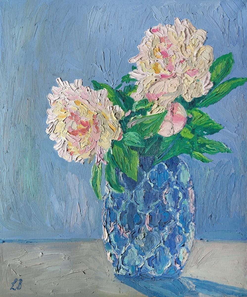 Peonies in Blue Vase