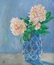 Peonies in Blue Vase by Leila Barton -  sized 20x24 inches. Available from Whitewall Galleries